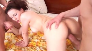 Cute brunette trying her first anal sex threesome with two guys