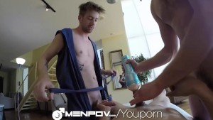 MenPOV Hot threeway massage and fuck with toys