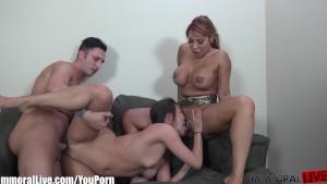 ImmoralLive Latina MILF teaching petite asian to fuck!