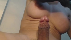 Busty Shemale Upclose with her Big Hard Cock