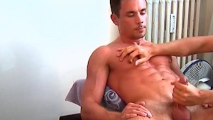 Cock massage to this sport guy with huge chest.