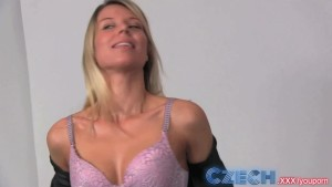 Czech Blonde takes two dicks in Casting interview