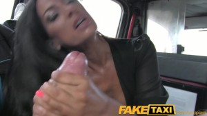 FakeTaxi Black haired milf cheats on hubby with taxi driver