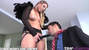 StrapAttackers Aurora Snow Ass Fucks Guy with her Strapon