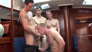 Blond Twink enjoys 3 dicks - Cum Pig Men