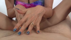 She puts finger up his ass for prostate handjob