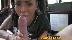 FakeTaxi Tattooed hottie fucked on taxi backseat
