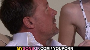 Hot blonde rides her BF s dad cock