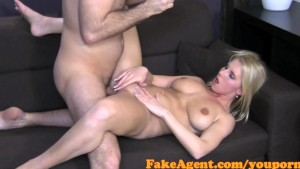 FakeAgent Blue eyes blonde hair hottie takes a face full of hot spunk in Office