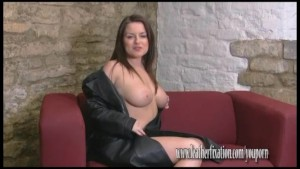 Busty brunette reveals huge boobs and hot naked body under sexy leather