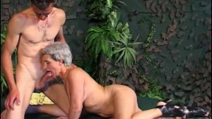 Slim Horny Grey-Haired Slut Gets Fucked