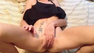 skinny wife playing and showing off creampie