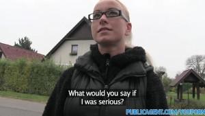 PublicAgent Slutty blonde in glasses fucks a stranger for cash
