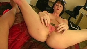 Hot busty amateur MILF jerking dick 2