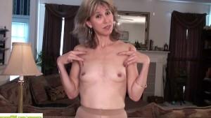 Olive Jones Rubs Older Hairy Pussy
