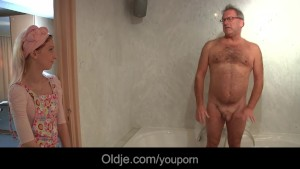 Perv old geezer fucks young hotel maid
