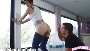 BurningAngel Tattooed Hunny Pounded at Yoga Class