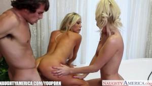 Blonde sirens Aaliyah Love and Tasha Reigh share cock