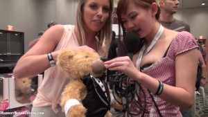 Britney Amber with Teddy at AE Expo