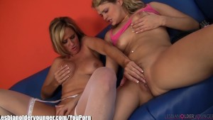 LesbianOlderYounger Blonde MILF and Teen 69