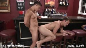 Hefty gays fucking in a bar