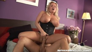 Blonde With Giant Tits Gets Plowed