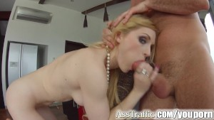 Ass Traffic Blonde swallows cum after hot ass to mouth