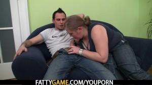 Big belly plumper picks up him for money