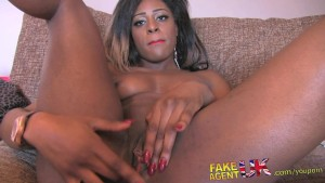 FakeAgentUK Amateur ebony babe deep throats wide cock in casting