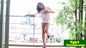 Tgirl latina Kate rubs her body teasingly