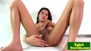 Asian tgirl maid Lulu spreads ass cheeks