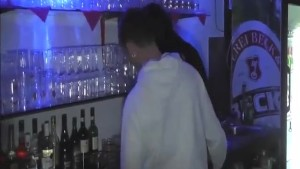 Hot barmaid fist fucked in a night club