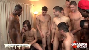 Cute guy s first bukkake gangbang