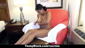 TeenyBlack - Curvy Ebony Monique Symone Rides White Dick