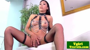 Asian tgirl Melissa shows kinky lingerie