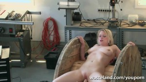 Electro treatment and sex toys for restrained blonde sex slave