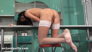 Anal play for sexy chick in white stockings
