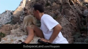 Promiscous busty blonde tied up by a stone and doggie drilled