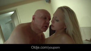 Bald sugar daddy fucks his younger girlfriend after catching her masturbating