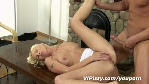 Hot blonde spits pee on her mans cock