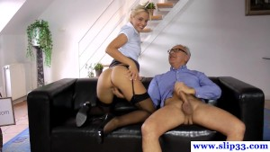 Posing european amateur jerking off old cock