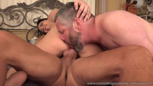 Wife Receives a Pounding While Husband Watches and Eats Up Cum