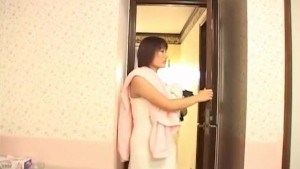 Mirai Hoshino is watched while rubbing her snatch after shower