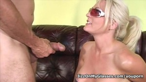Nasty blonde babe Sindy Lange enjoys mouthfucking big fat cocks for a creamy facial