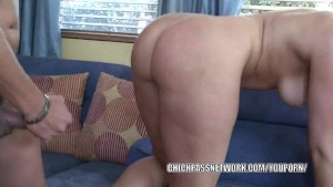 Curvy cutie Ava Rose fucks and takes the cum on her ass