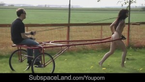 Teen slave tied gagged and harnessed to pull bondage cart