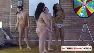 4 hot girls Spinning the wheel of Nudity ends with epic fun