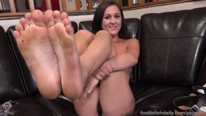 Young Brunette Has Feet Sucked and Pussy Thrusted Until She Cums