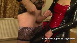 Kinky wife in PVC with crossdr