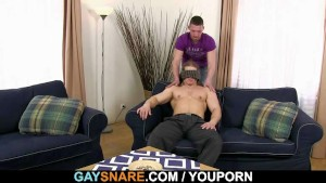 He sucks and rides his horny gay cock